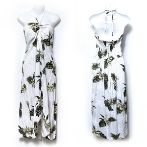 {TROPICAL GROUP} Hawaiian Palm Tree Midi Dress XXL